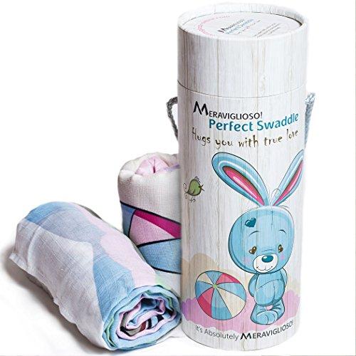 "Muslin Swaddle Blankets Gift Set for girls & boys + BONUS Pouch, Unisex Design, Set of 2 Baby Blankets 47""x47"", 100% Cotton, Soft Breathable Swaddling Blanket/Nursing Cover, Best Gift for Baby Shower (Stroller Twin Around Wrap)"