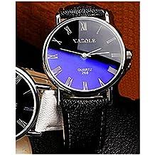 LinTimes Fashion Mens Womens Watch Quartz Analog Roman Numeral Scale Business Casual Wristwatch Black Band Black Dial