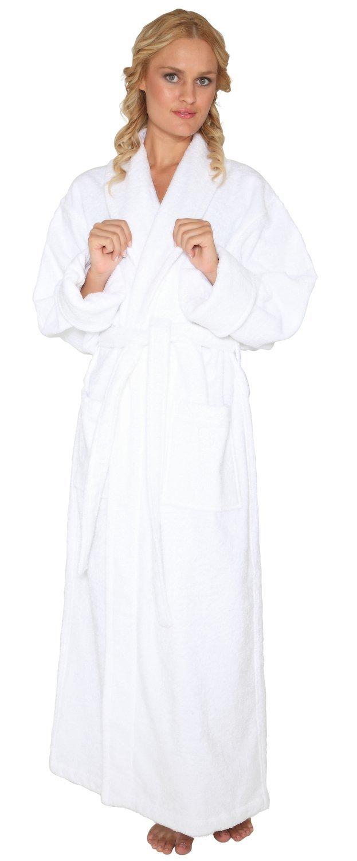 Arus Women's Optimal Style Full Length Thick Shawl Collar Turkish Bathrobe White Large