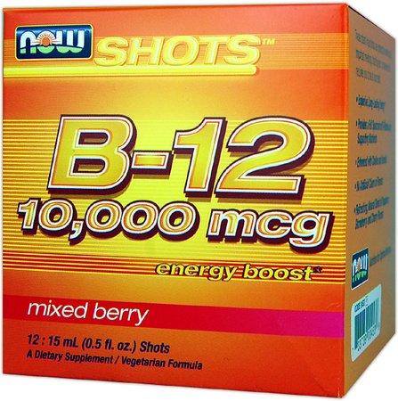 NOW Foods - Shots Liquid B12 Energy Boost Shots Mixed Berry 10000 mcg. - 12 Vial(s)