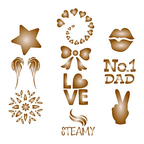 Coffee Set Stencil - 10 Designs - Reusable Barista Stencils for Decorating Cappuccino Coffee Latte Cupcakes Cakes Cookies Scrapbooking and more... Alphabet Soup Wall Border