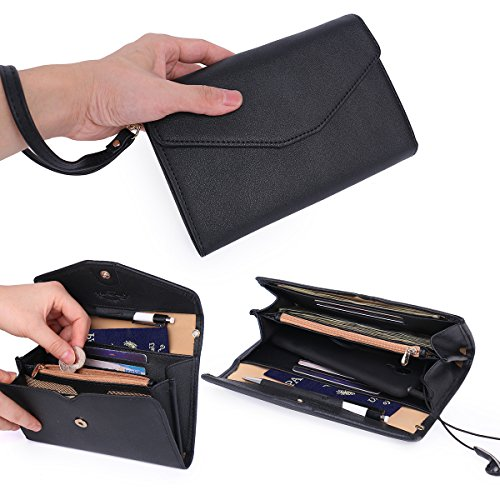 Price comparison product image Women's Clutch Wallet Purse Wristlet with Passport and Phone Holder Pouch All In One Extra Capacity - Black