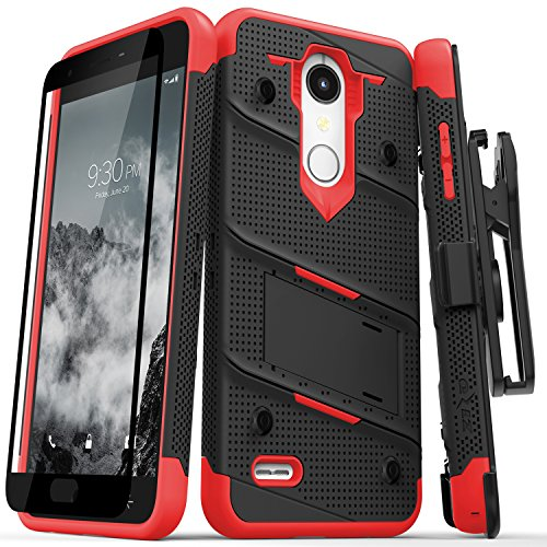 Zizo Bolt Series compatilbe with LG K30 Case Military Grade Drop Tested with Tempered Glass Screen Protector Holster LG Harmony 2 Case Black RED