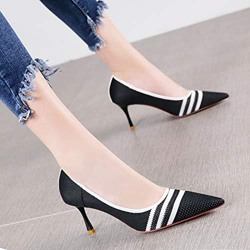 HRCxue Pumps Mode Spitze Mesh Stiletto Heels Damen atmungsaktive flachen Mund gestreiften Schuhe, 37, schwarz