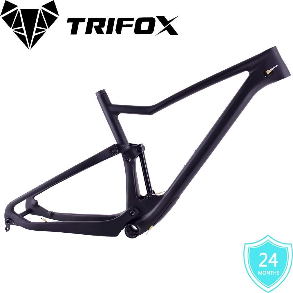 85482e1b7ca Amazon.com : TRIFOX Superlight T800 Full Carbon Fiber MTB Suspension Frame,  29er, Boost 148 12 mm Rear Spacing (Black) : Sports & Outdoors
