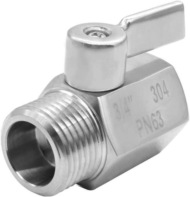 "beduan Stainless Steel 3/4"" Shut Off Valve GHT Thread Garden Hose Hose Connector"