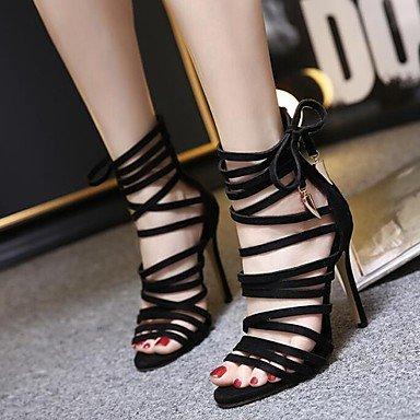 LvYuan Tacón Stiletto-Gladiador Zapatos del club-Sandalias-Vestido Informal Fiesta y Noche-Ante-Negro Caqui Khaki