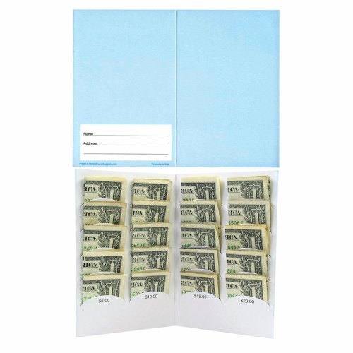 $20 - Dollar Donations Blank Folder. Dollar Folders for Organizations Fundraising - 50 Folders Blank by ChurchSupplier.com