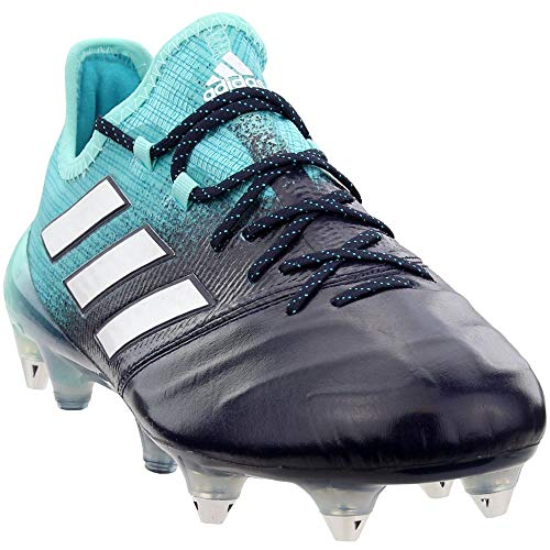 adidas Mens Ace 17.1 Soft Ground Leather Soccer Casual Cleats, Blue;White, 10