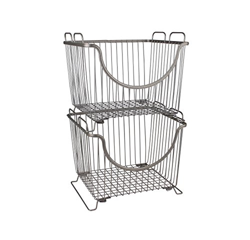 Spectrum Diversified Ashley Stackable Basket, Large, Satin Nickel