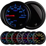GlowShift Tinted 7 Color 30 PSI Turbo Boost / Vacuum Gauge Kit - Includes Mechanical Hose
