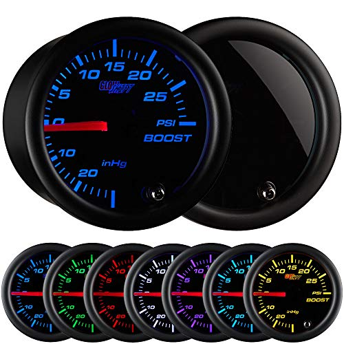 GlowShift Tinted 7 Color 30 PSI Turbo Boost / Vacuum Gauge Kit - Includes Mechanical Hose & T-Fitting - Black Dial - Smoked Lens - For Car & Truck - 2-1/16