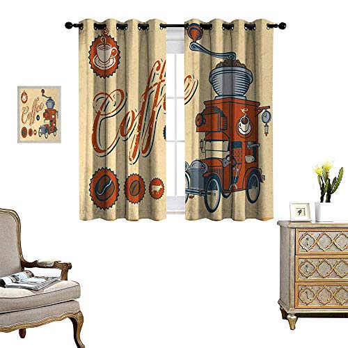 Retro Thermal Insulating Blackout Curtain Artsy Commercial Design of Vintage Truck with Coffee Grinder Old Fashioned Patterned Drape for Glass Door W72 x L63 Cream Orange Grey