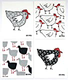 Bargquist Imports Collections Swedish Dish Cloths: Natural Eco Friendly Cotton Dishcloth with Country Chic Chicken Theme; Red, Grey, Black, White, Set of 4