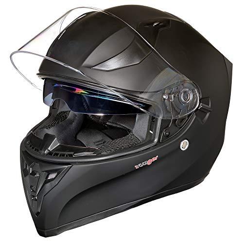 Motorradhelm Integralhelm rueger RT-826 Motorrad Roller Quad Helm, Farbe:Matt Schwarz, Größe:XL (61-62)