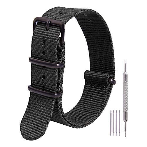Ritche Nato Strap 16mm Premium Nylon Watch Band Replacement Seiko SNK809 Timex Weekender Expedition Daniel Wellington Straps for Men Women (Timex Watch 16mm Weekender Strap)