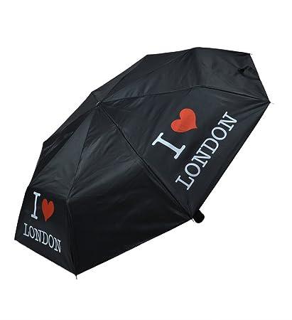 Luz fácil de transportar I Love Londres impresión plegable paraguas – (lon-02)