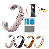 Chok Idea Fitbit Alta Leather Accessory Band Strap [With 5-Pack HD Clear Film Invisible Shield Screen Protector],Replacement Bands For Alta Available in Black,Blush Pink,Gold,Brown
