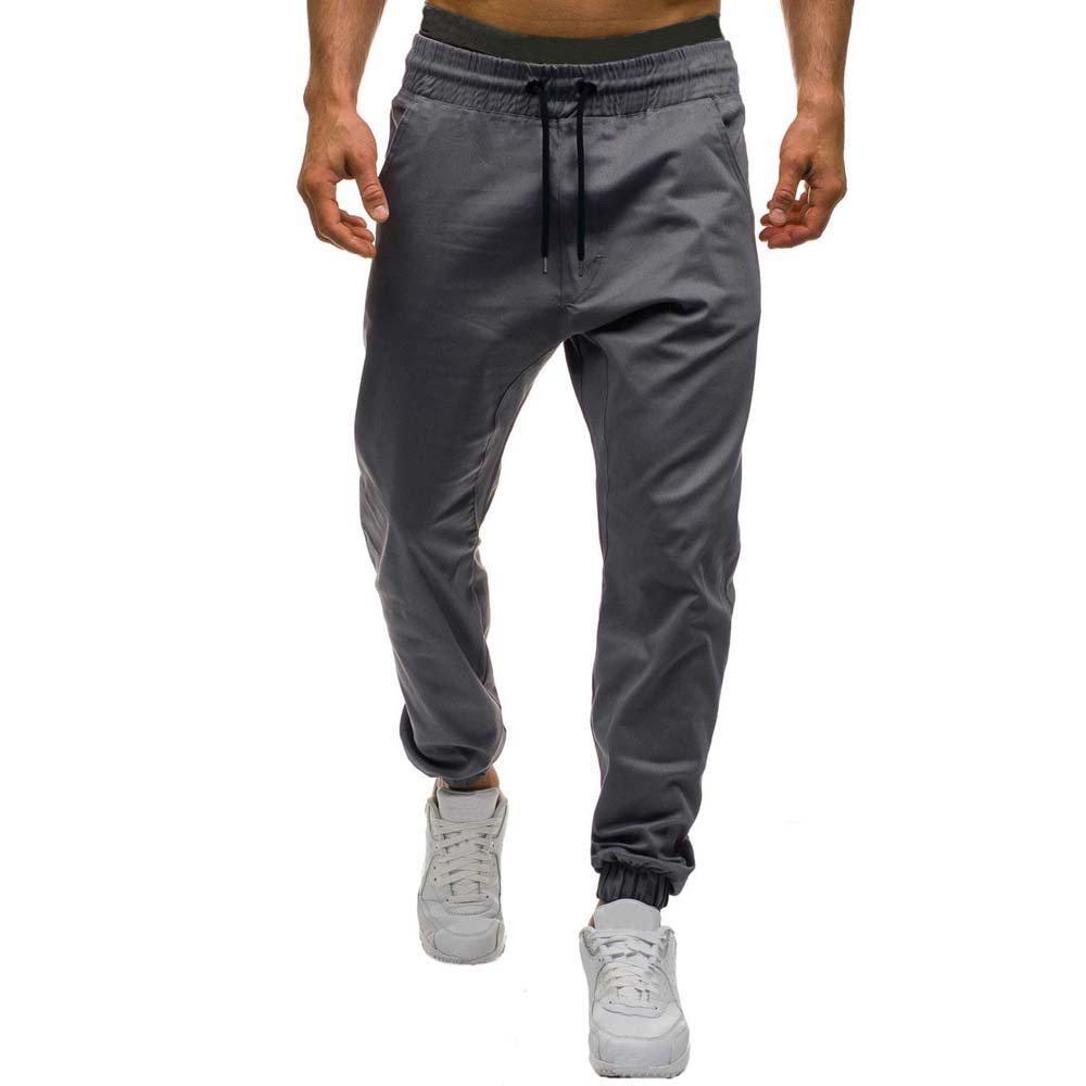 Pants For Men,Clearance Sale-Farjing Men Autumn Winter Casual Tether Elastic design Pants (M,Gray)