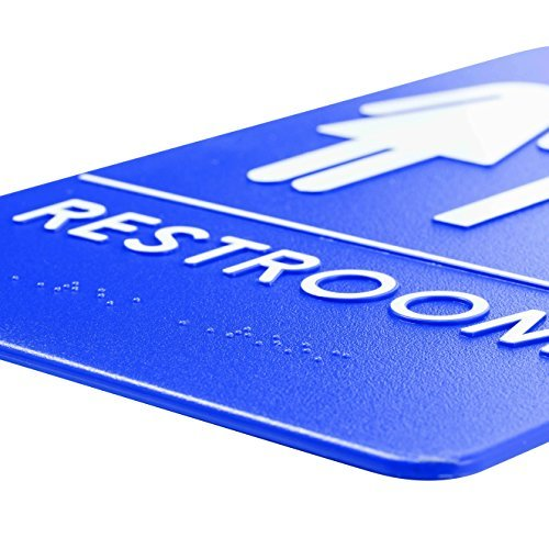 Unisex Handicap Restroom Sign, ADA-Compliant Bathroom Door Sign for Offices, Businesses, and Restaurants - | Made in USA | Rock Ridge (Blue) (3)
