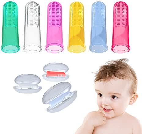 Baby Toothbrush with Case Set (6 PCS), Finger Toothbrush for Babies