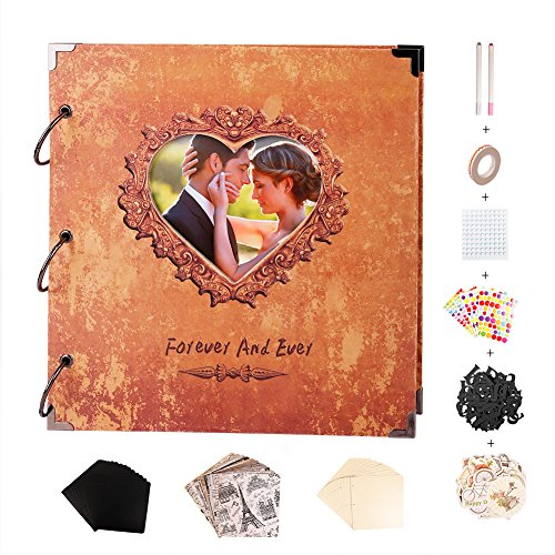 SICOHOME Scrapbook,10x10.5 Inch Scrapbook Album with Heart Photo ()