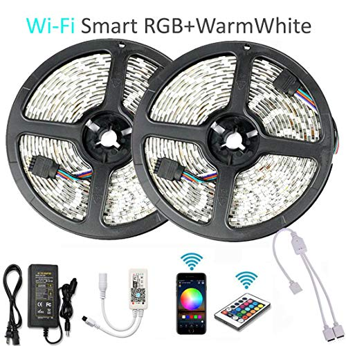 Goldwin WiFi Smart 32.8ft 10M 600 LEDs RGBW LED Light Strip,RGB + Warm White Compatible with Alexa,Google Assistant,IFTTT,Wireless Smart Phone App Control and IR Remote Control,4 in 1 RGBW Rope -