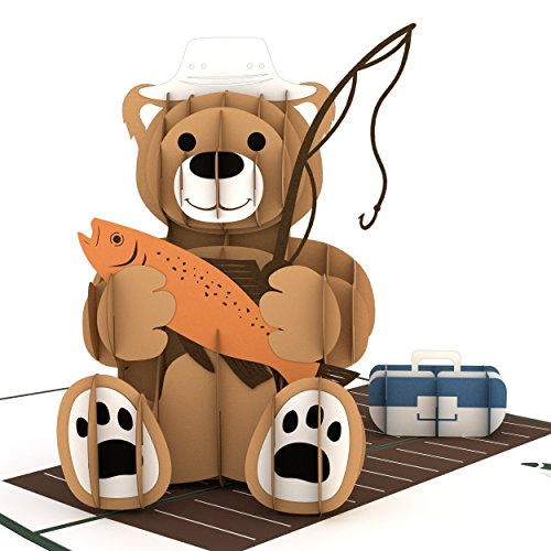 Lovepop Fishing Bear Pop Up Card, Father's Day Card, 3D Cards, Pop Up Card, Greeting Cards Dad, Happy Father's Day Grandpa, Dad Pop Up Card, Birthday Card