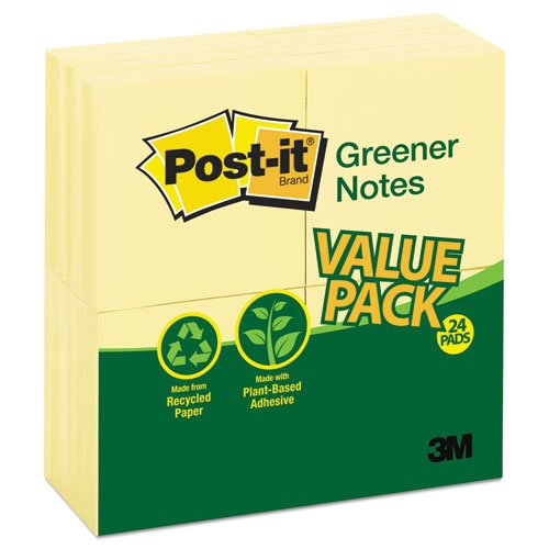 Post-it Greener Notes Original Recycled Note Pads, 100 3 x 3 Sheets, Canary Yellow, 24 Pads/Pack by Post-it