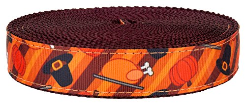 Country Brook Design 3/4 Inch Thanksgiving Feast on Burgundy Nylon (Pilgrim Collar Pattern)