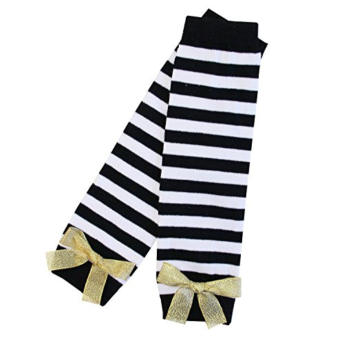 Kirei Sui Baby Stripes Leg Warmer Black White with Gold ()