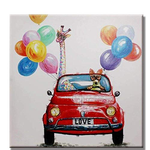 OSM ART 100% Hand Painted Modern Funny Animal Oil Painting on Canvas Dog Driver and Giraffe in Car with Colorful Balloon Painting NO Frame Wall Art Picture for Room Decor Oil Picture Size 28x28 INCH ()