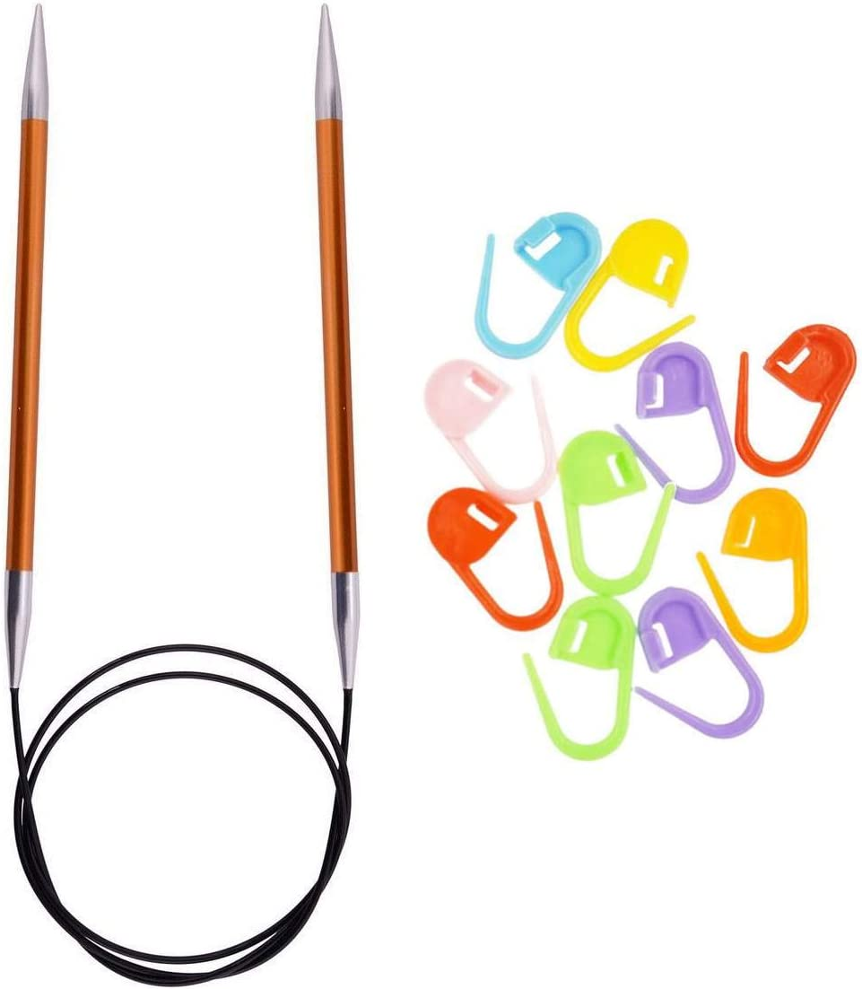 3.25mm Knitters Pride Knitting Needles Zing Fixed Circular 24 inch Size US 3 Bundle with 10 Artsiga Crafts Stitch Markers 140096