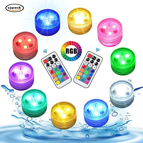 Submersible LED Lights with Remote Round Waterproof Lights Underwater Led Battery Operated Supper Bright Tea Lights Candles Accent Lights for Party Fountain Pond Pool Vase Lantern Table Centerpiece