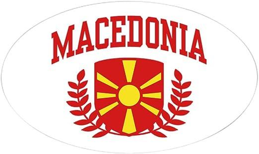 "Macedonia Euro oval car window bumper sticker decal 5/"" x 3/"""