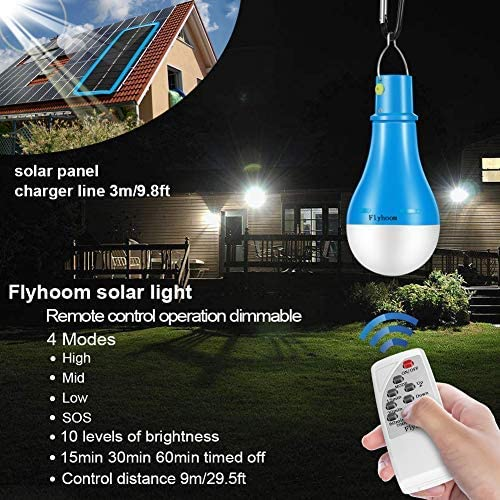 Flyhoom Solar Light Bulb Camping Lights Dimmable 220LM 1800mA Outdoor Rechargeable lamp with Remote Controller Timer for Outage Tent Fishing Hurricane Chicken coop,Blue,FNSL3
