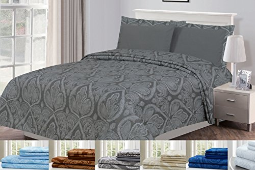 Twin Size Bed In A Bag (4 Piece: Paisley Printed Bed Sheet Set 1800 Count Egyptian Quality HOTEL LUXURY Flat Sheet,Fitted Sheet with 2 Pillow Cases,Deep Pockets, Soft Extremely Durable by Lux Decor (Twin, GREY))