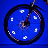 Willceal Bike Spoke Light 6PCS, Bike Wheel Light,Tyre Wire Right with 6 LED Flash Model Neon Lamps,Bike Safety Alarm Light. (Blue)