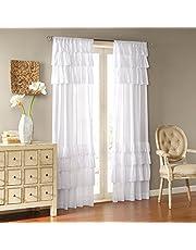 Madison Park WIN40-140 White Living Room ، كوخ ريفي قضيب جيب كشكشة غرفة نوم ، ستائر نافذة Anna Voile صلبة ، 50X84 ، حزمة من 1 لوحة