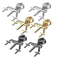 Oidea Assorted Color Stainless Steel Hinge Huggie Hoop Cross Drop Earrings for Men Women,,Hypoallergenic