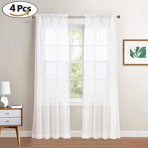 PONY DANCE Sheers Curtains 84'' - Elegant Rod Pocket White Voile Sheer Curtain Drapes Living Room/Patio Door/Sliding door, 60 Inches Wide 84 Inches Long, White, 4 Pieces by PONY DANCE