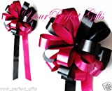 APPLE RED BLACK WEDDING 8'' PEW BOW BRIDAL DECORATION