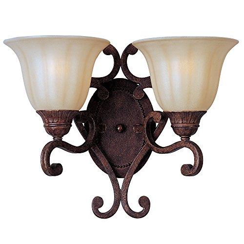 Maxim Lighting 13572CFAF Two Light Cafe Glass Auburn Florentine Wall Light, Brown