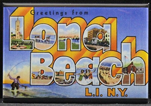 Greetings From Long Beach Refrigerator Magnet. Long Island NY -