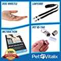 Dog Whistle to Stop Barking with Adjustable High Pitched Frequency from PetVitalix for Obedience, Repellent Effect and Clicker Teaching with Keychain, Necklace, Anti Lost Pet ID Tag, Training Guides
