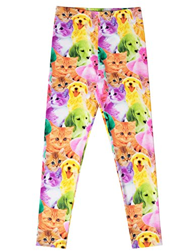 Jxstar Girls Pants Cartoon Animal Printed Trousers Rainbow Dog Pattern Ankle Length Basic Leggings Cat Dog 160
