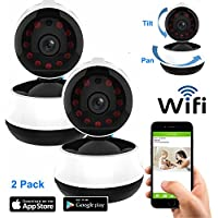 Coolcam iSmart 720P 2PK Wireless WiFi IP Camera Smartphone CCTV Security Surveillance 2way Audio Camera, Night Vision, Motion Detect Free P2P Cloud Connection Service, QR Code