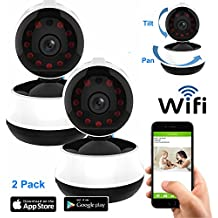 Coolcam HD 720P Wireless WiFi IP Camera Smartphone CCTV Security Surveillance 2way Audio with Night Vision and Motion Detect Recording 2PK