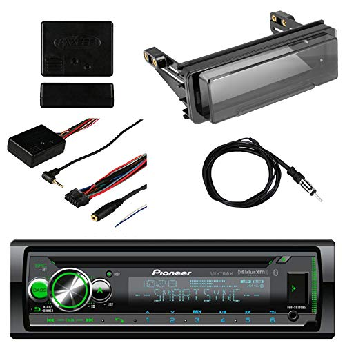 Pioneer Vehicle CD Digital Music Player Receivers with Bluetooth, Metra Axxess Universal Steering Wheel Control, Metra Radio Cover Kit for Harley-Davidson Touring Motorcycle and Enrock Marine Antenna ()