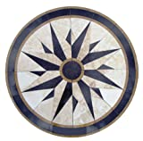 Tile Floor Medallion Marble Mosaic Compass North Star Design 40''